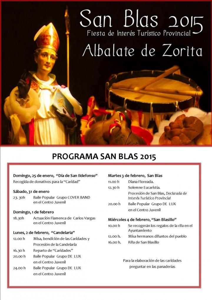 FIESTAS DE SAN BLAS.Programa de Fiestas de San Blas 2015 (Fiesta declarada de Interés Turístico Provincial)