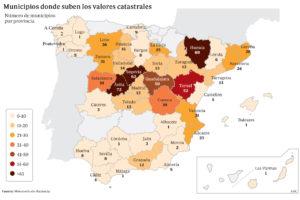 Los municipios en los que sube o baja el catastro en 2019